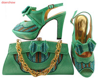 doershow Shoes and Bag Set Decorated with Rhinestone High Quality Matching Italian Shoes and Bag for Wedding LULU1 18
