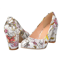 High Heels Women Shoes Heels Round Toe Square Heels Female Flower Pumps Cheap Work Shoes Yellow Red Large size 9 10 43