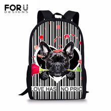 FORUDESIGNS Cartoon Animal Prints Pattern Backpack Cute Dog Women Shoulder Laptop Backpack Kawaii Large Capacity Travel Backpack