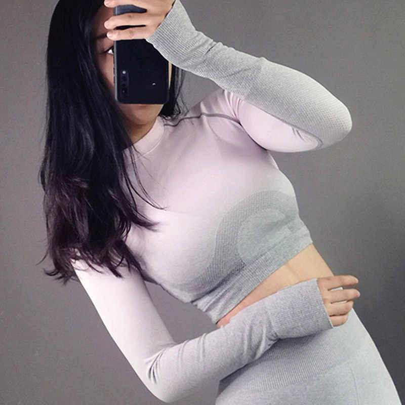 Rough Loli Ombre Seamless Long Sleeve Crop Top Shirts Workout Tops for Women Yoga Gym Shirt Athletic Fitted T Shirt Sports Top
