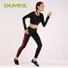 DUVEIL Women Bodybuilding Gym Running Sportswear Sexy Yoga Sports Suit Ladies Slim Vest+Yoga Pants Fitness Set
