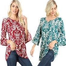 Floral Print T-shirt 2019 Elegant Office Ladies Long Sleeve Chiffon T-shirts Fashion Women Print Tees Casual Beach Tops T shirt