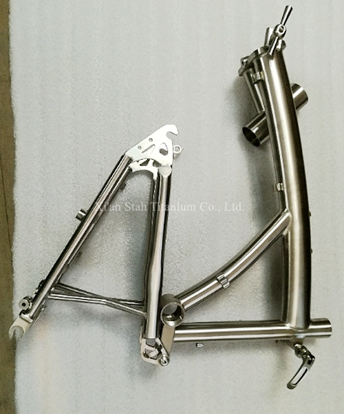 Titanium TC4 Folding Bicycle Frame + Rear Triangel Fork Glossy / Matte Surface For 406mm 20