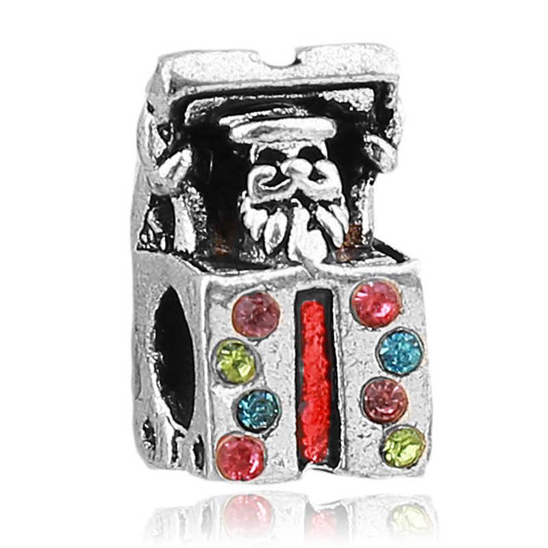Darmowa wysyłka europejski 1PC srebrne prezenty świąteczne pudełko niespodzianka koralik z dużym otworem Charm fit Pandora kobiety Charm bransoletka