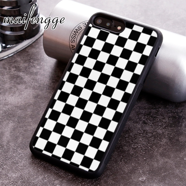 timeless design 87b22 b260a US $3.19 20% OFF|maifengge Checkerboard Plaid Checkered phone Case cover  For iPhone 6 6S 7 8 X XR XS max 5 5S SE Samsung S5 S6 S7 edge S8 S9 Plus-in  ...