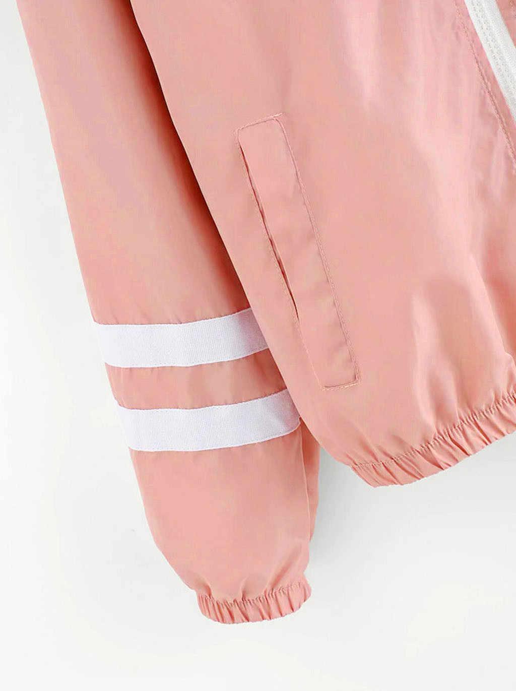 Kobiety podstawowe kurtki damskie kieszenie na zamek długi rękaw na co dzień płaszcze jesień kurtka z kapturem solidna kurtka wiatrówka #3