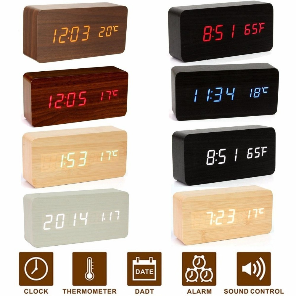 Digital alarm clock modern wooden wood LED display time calendar thermometer usb/aaa