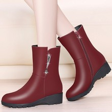 Genuine Sheepskin Leather Mid Calf Boots For Women Martin Wedges Round Toe Med Heel Short Boots Dress Shoes Woman YG-A0044 universe mid calf winter boots women shoes with warm short plush lining genuine leather med heel boots g382