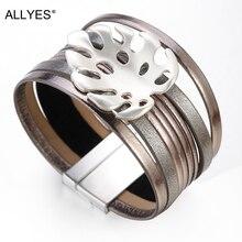 ALLYES Leather Bracelets for Women 2019 Individual Hollow Metal Leaf Charm Bohemian Wide Multilayer Wrap Bracelet Female Jewelry