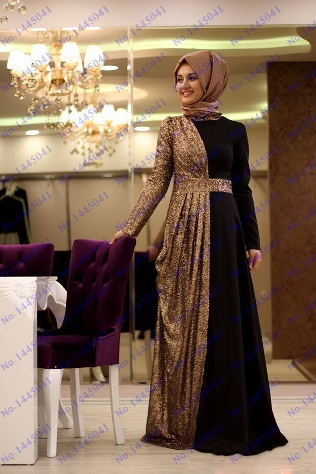 de474ac342c5 Fancy dubai kaftan abaya black chiffon gold sequined long fitted high neck  with veils prom party dress evening gown-in Evening Dresses from Weddings  ...