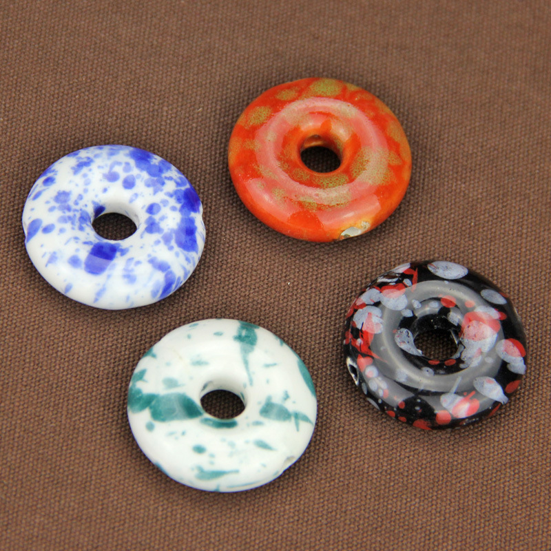 5pcslot Decoration Glazed Ceramic Round Connectors 27x8mm Craft Porcelain Spacer Charms DIY Jewelry Making Pendant Accessories