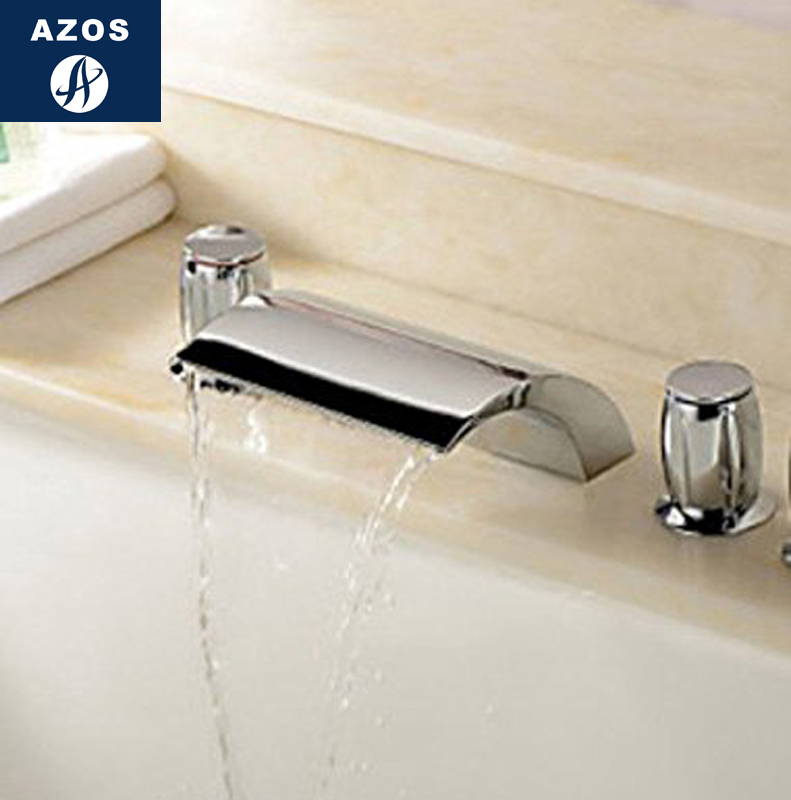 Azos Split FaucetWaterfall Waterfall Brass Chrome Cold and Hot Switch Balcony Below Counter Basin Hotel Double Handle Three Hol