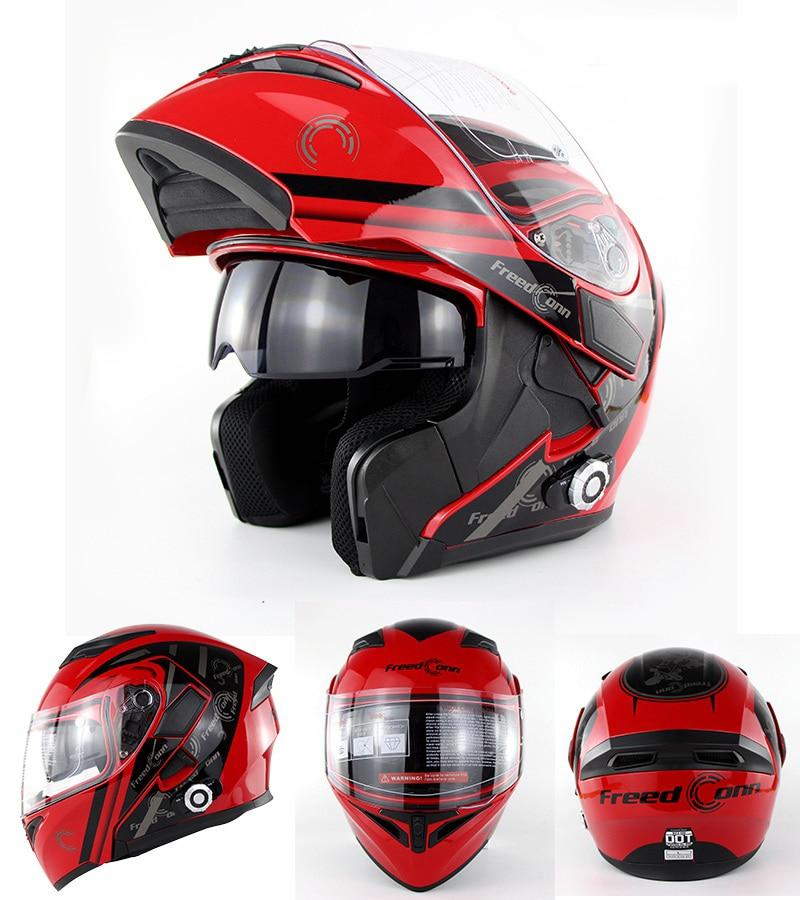 DOT Bluetooth Intercom Integrované modulární helmy Motocyklová helma s plným obličejem Freedconn BM2-E