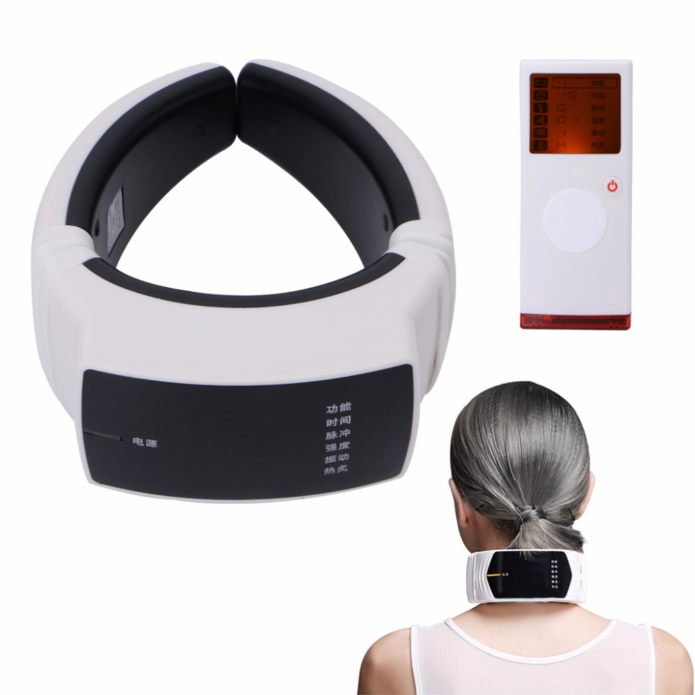Wireless Remote Control Neck Care Massager Far Infrared Heat Therapy Instrument US Plug