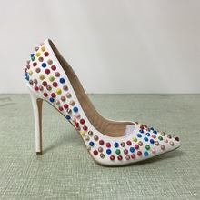 White Woman Pumps With Colorful Rivets Stilettos High Heels Slip on Pointed Toe Handmade Soft Leather