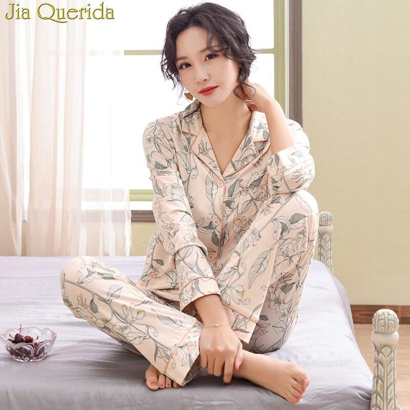 J&Q Floral Female   Pajamas   2019 Spring New Long Sleeves   Pajamas     Set   2 Pcs Coton Sleeping Suit Pink Loungewear Home Suit For Women