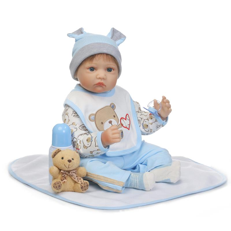 NPKDOLL 55cm Soft Silicone Doll Reborn Baby 22 Baby Birthday Gift for Child Newborn Boy Bedtime Early Education Toy for Girls