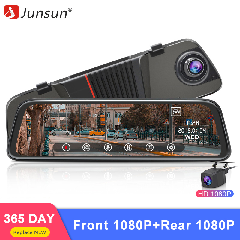 Junsun 2019 New Back Camera 1080P Car DVR Dual Lens Dash Cam 10 IPS Touch Screen