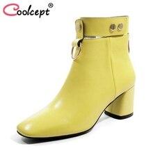 Coolcept/женские ботинки на высоком каблуке реальные кожаные ботильоны женская зимняя обувь модные роскошные заклепки женская обувь размеры 34–42