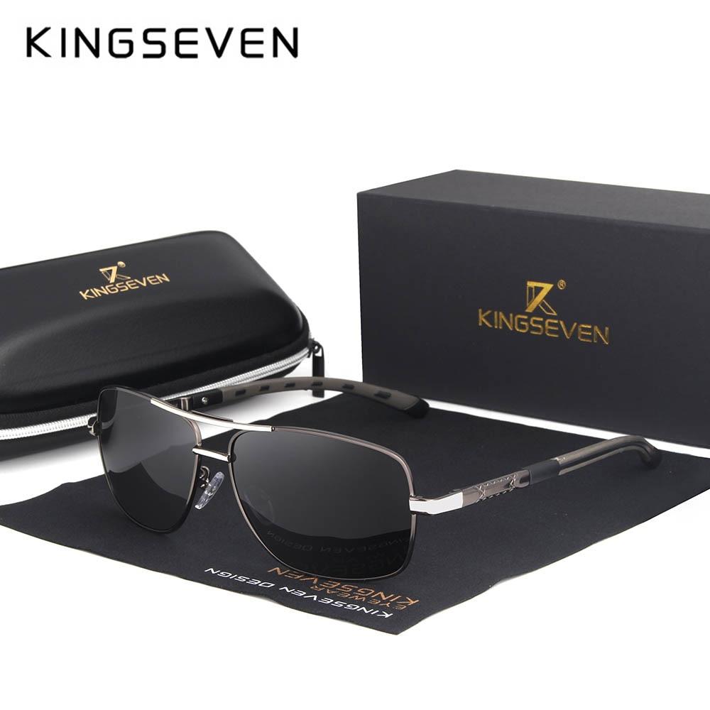 KINGSEVEN 2019 Brand Men Aluminum Sunglasses HD Polarized UV400 Mirror Male Sun Glasses Women For Men Oculos de sol N724 8