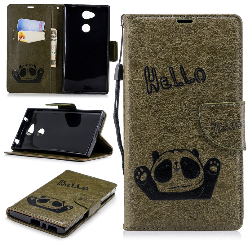 Flip Case For Sony Xperia L2 Case Hello Panda Emboss Wallet Leather Case For Sony Xperia L2 L 2 Fundas Smart Phone Cover Bags