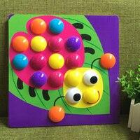 3D פאזל צעצועים לילדים תמונה מורכבת Creative פסיפס אמנות ערכת ציפורניים פטריות כפתור צעצועים חינוכיים ילדים צעצוע