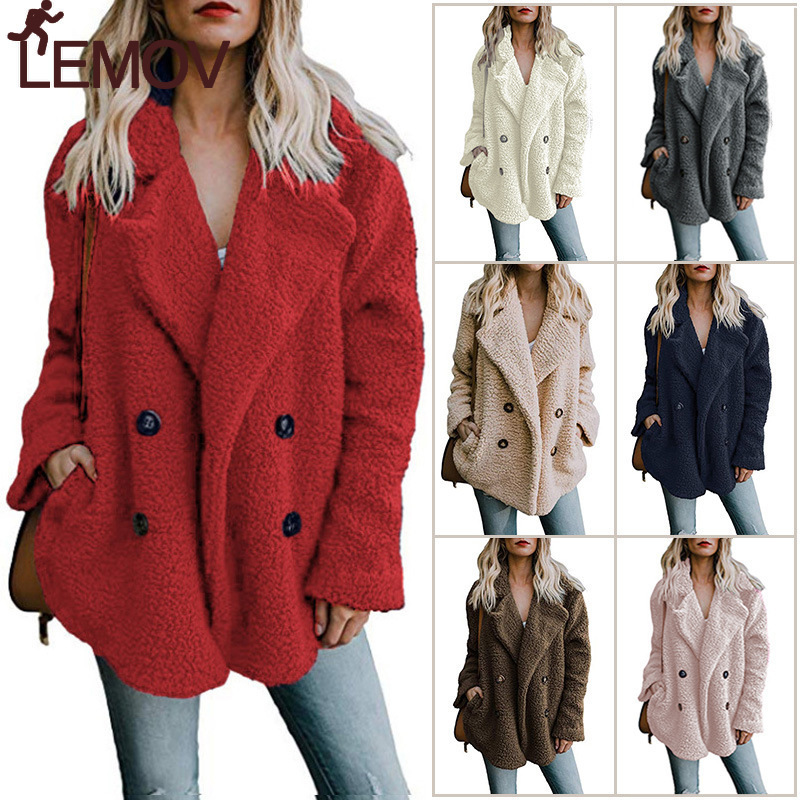 2019 Winter Solid Coat Women Autumn Wide Lapel Loose Warm Outwear Female Casual Jumper Ladies Loose Blend Coat Faux fur Ladies