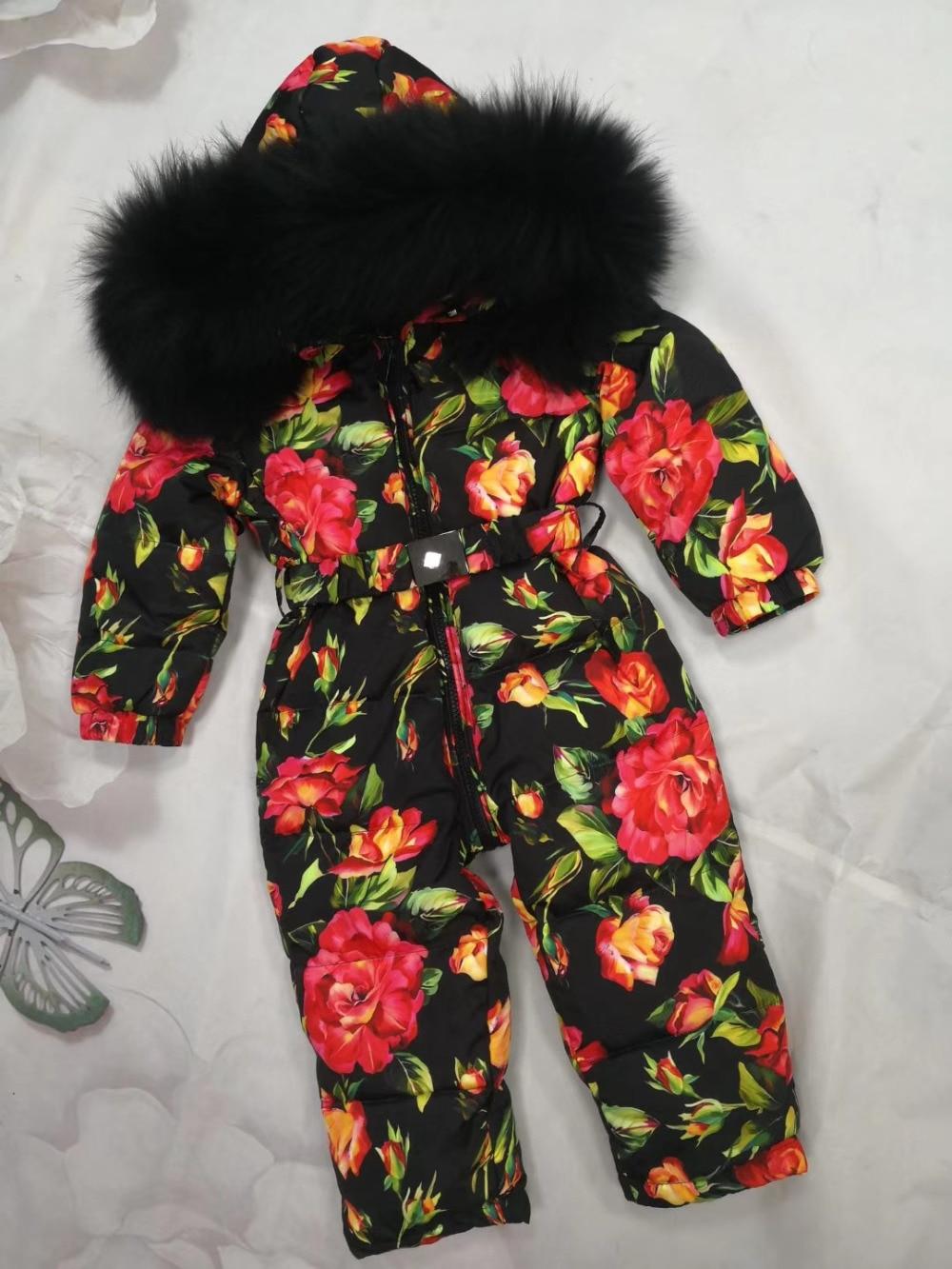 2018 Winter down jacket Baby duck down suit outerwear Fur Hooded children's Snowsuit down coats Child jumpsuit romper ski suit