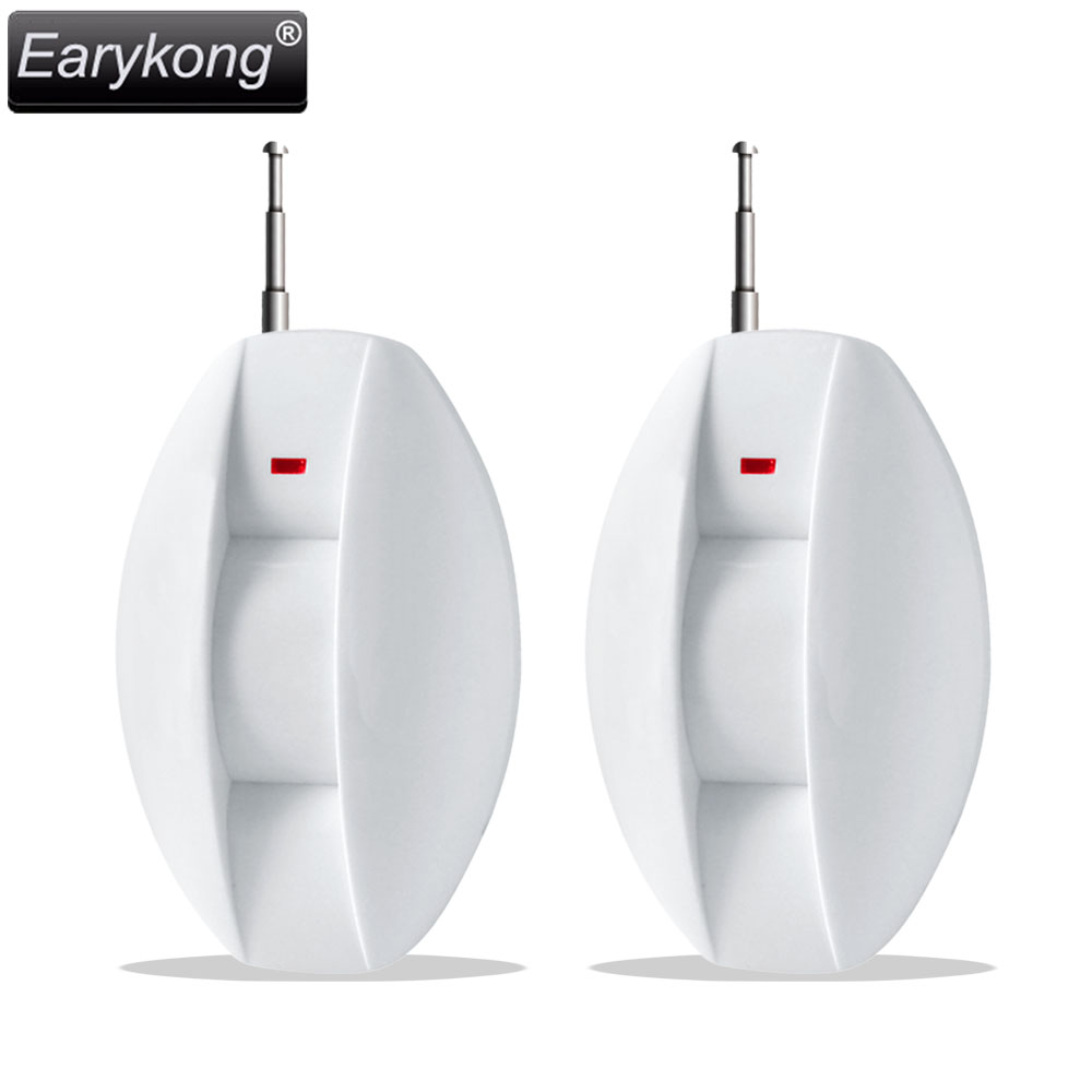 New Earykong 2 pcs Curtain detector, 433MHz wireless infrared PIR detector, for Home burglar GSM alarm system, wireless smoke fire detector for wireless for touch keypad panel wifi gsm home security burglar voice alarm system