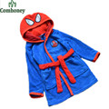Spiderman Children's Bathrobes 2-8T Baby Boys Girls Robe Hooded Flannel Pajamas Kids Soft Bath Robes Children Beach Towels