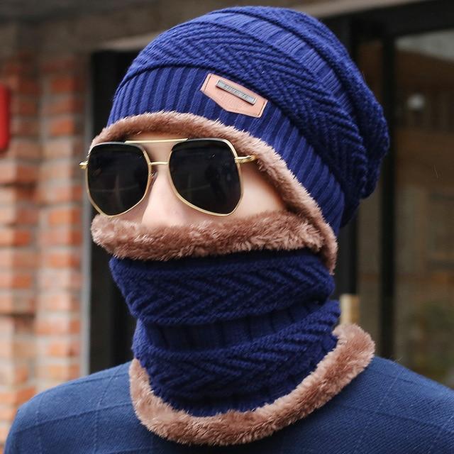 db29bd94d2139 ... 2017 New Knitted Winter Hat Scarf Beanies Knit Men s Winter Hats Caps  Skullies Bonnet For Men ...