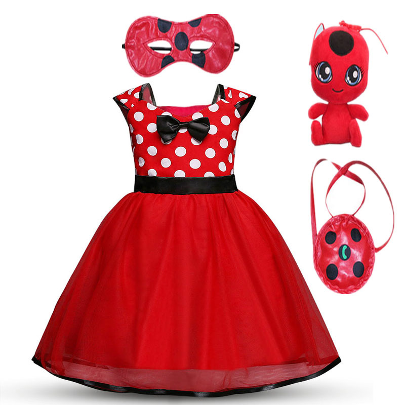 2019 New Ladybug Girls Dress Summer Brand Girls Clothes Lace Dot Design Baby Girls Dresses Lady bug Party Dress For 2-7 years