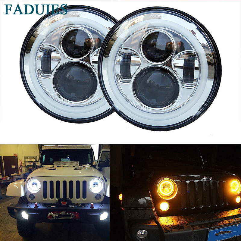 FADUIES Chrome 7 Inch Round LED Headlight 40W H4 Amber Halo Turn Signal & DRL For Jeep Wrangler JK LJ TJ CJ Hummer H1 & H2 2x dot 7 inch led headlights turn signal drl bulbs set kit projector 90w for jeep wrangler jk lj jku tj cj sahara rubicon