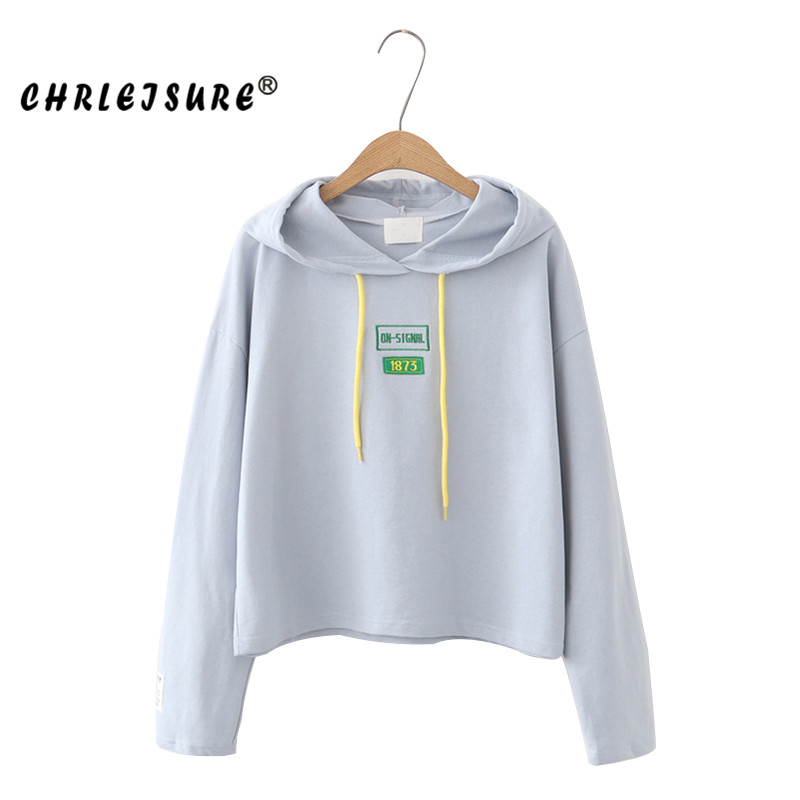 CHRLEISURE Sweatshirts Womens 2017 Autumn solid color small fresh wild cotton printing loose pullover hooded LadyS Sweatshirt