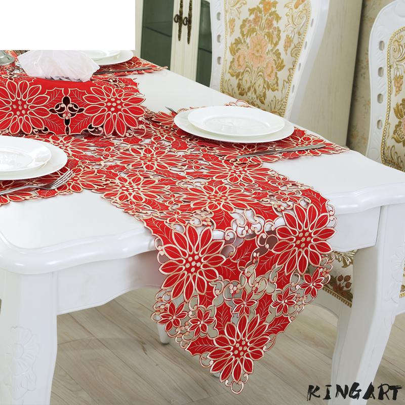 Wedding Embroidered Tablecloth Party & Banquet Christmas Table Runner Dinning Table Cloth Coffee Table Cover Rose Table Runner