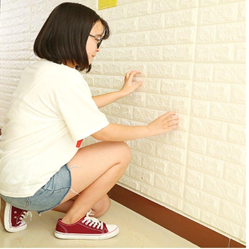 PE Foam 3D Sticker Self Adhesive Wallpaper DIY Brick Living RoomTV Kids Safty BedroomWarm Home waterproof Decor Wall Sticker
