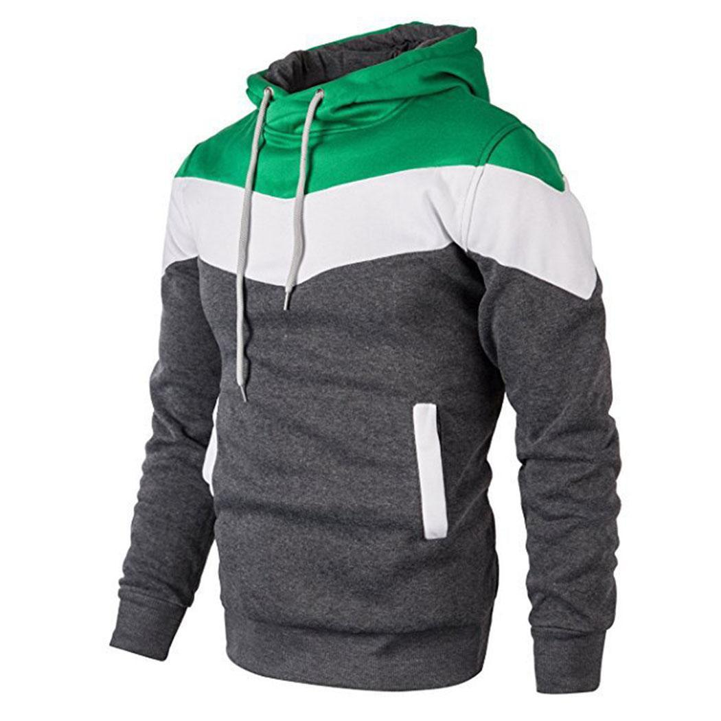 2019 Autumn Casual Men's Skateboarding Hoodies Multicolor Splice Pullovers Sport Hoodie Man Gym Fitness Casual Long Sleeve Coat
