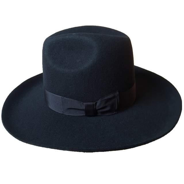 16d2cc7f261 Online Shop Black Israel Jewish Hat Jews Wool Hasidic Kosher Rabbi Fedora  Cap + Wide Brim 10 cm