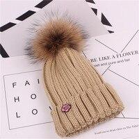 Fashion Children Winter Raccoon Fur Hats 100 Real 15cm Fur Pompom Beanies Cap Natural Fur Hat