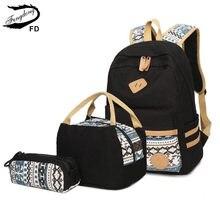 ef7c6d7ac47 FengDong 3 stks/set vintage zwarte school rugzak voor meisjes canvas rugzak  kids book bag school tassen voor vrouwen meisjes pot.