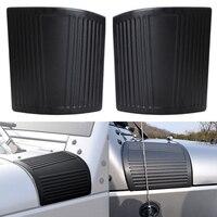 2 Adet ABS Hood Açı Wrap Kapak Jeep Wrangler 2007-2015 için Bir Sütun Cornerite Plastik Davlumbaz Koruma Kapakları siyah