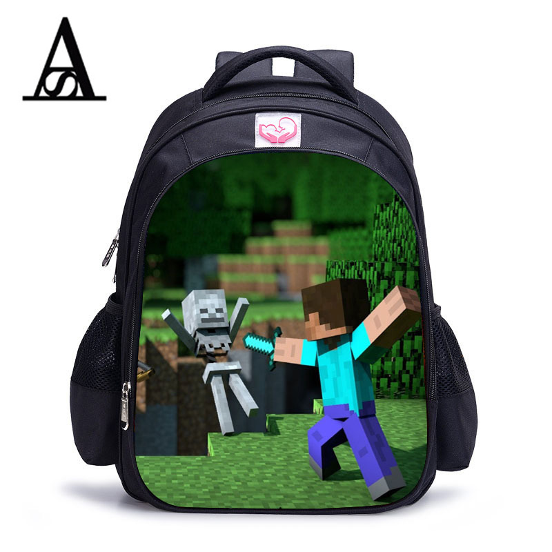 Teenager MineCraft Cartoon Backpack Boy Cartoon School Bags Hot Primary Backpack School Bags for Boys and Girl Mochila Sac A Dos cartoon boy girl design resin desktop decoration