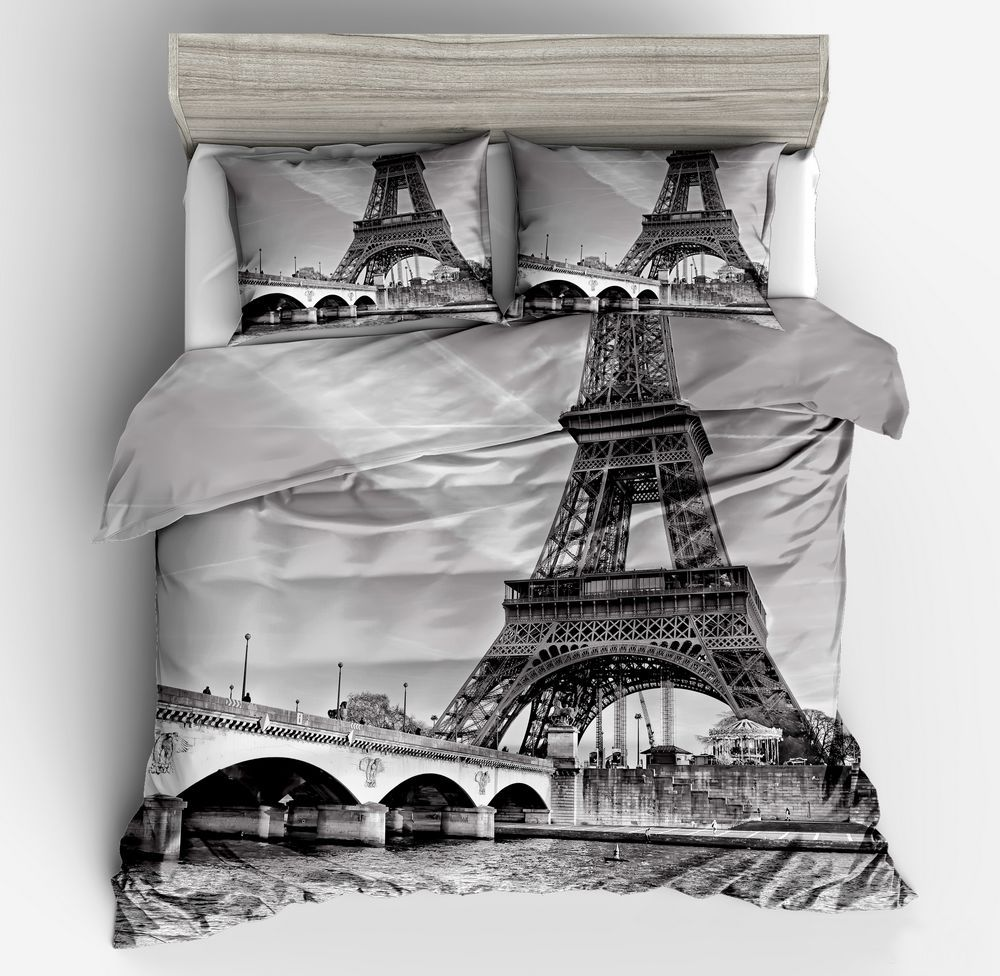 Duvet Cover Gray iron tower simple wind 2/3pcs British Style Family student dormitory Quilt cover pillowcaseDuvet Cover Gray iron tower simple wind 2/3pcs British Style Family student dormitory Quilt cover pillowcase