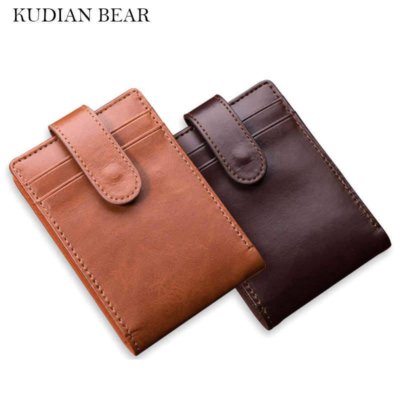 KUDIAN BEAR Minimalist Men Wallet Vintage Leather Portfolio Wallet and Purse for Male Slim Clamps Carteira Masculina BID233 PM49 baellerry small mens wallets vintage dull polish short dollar price male cards purse mini leather men wallet carteira masculina