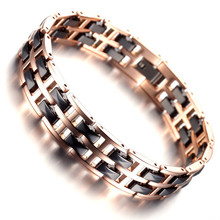 Bracelet Mens Jewelry Fashion Tungsten Bracelet, Rose Gold & Black Health Care Wristband KR7916
