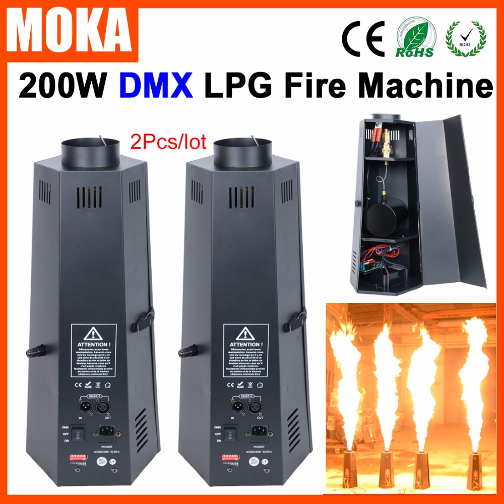 цена на 2 Pcs/lot 6 angle lpg fire machine dmx stage flame machine Flame Projector 200W Flame Effects DMX 512 stage effect equipment