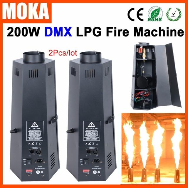 2 Pcs/lot 6 angle lpg fire machine dmx stage flame machine Flame Projector 200W Flame Effects DMX 512 stage effect equipment