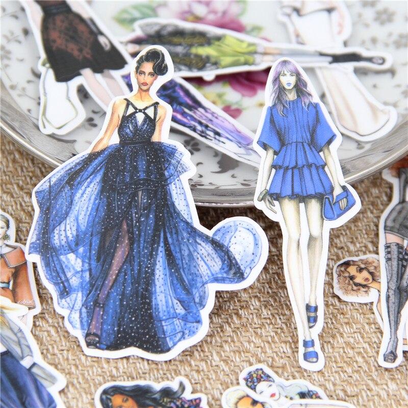 19 Stks/partij Pretty Catwalk Vrouwelijke Modus Decoratief Papier Sticker Sticker Voor Telefoon Auto Laptop Album Dagboek Rugzak Kids Speelgoed Stickers