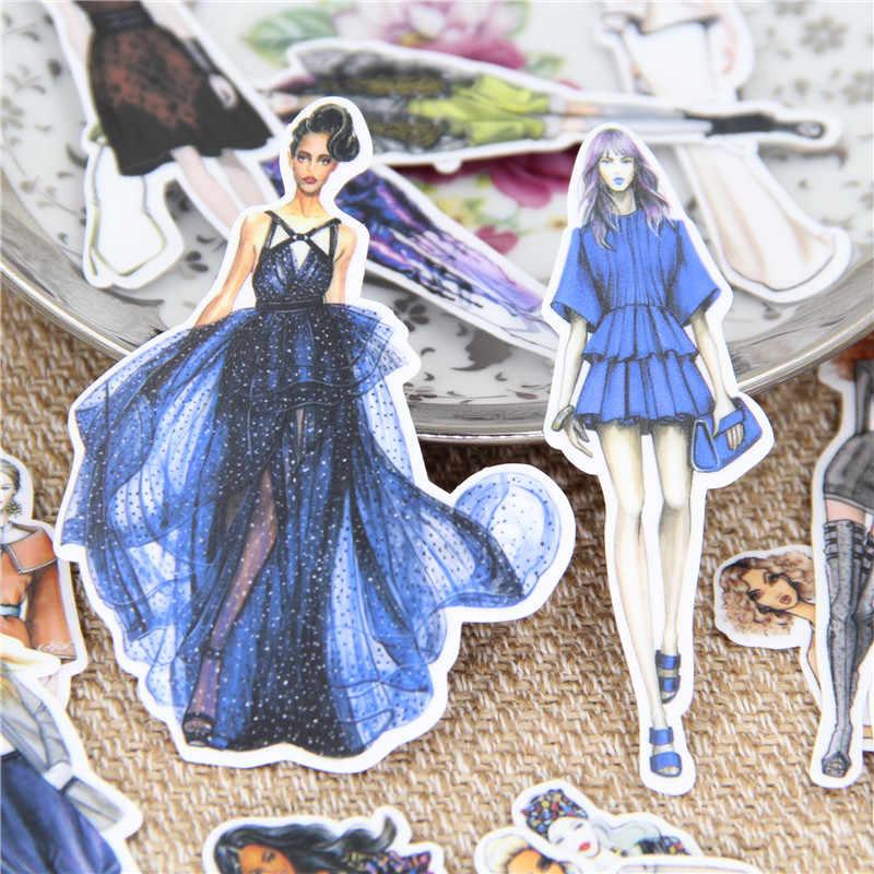 19 unids/lote bonito catwalk femenino modo adhesivo de papel decorativo para teléfono coche portátil álbum diario mochila niños pegatinas de juguete