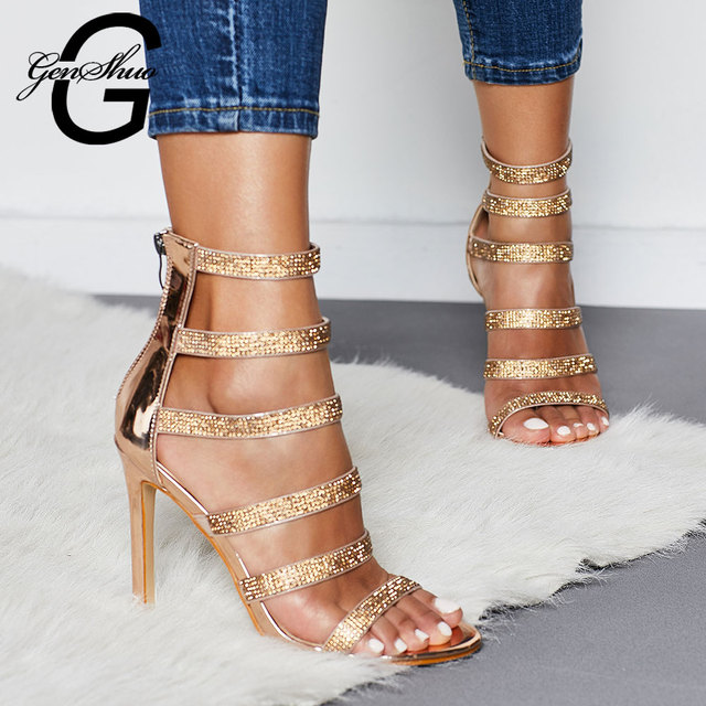 GENSHUO High Heels Summer Shoes Sandals Women Ankle-Strap Open Toe Gladiator Crystal Heels Sandals Gold Plus Size 35-42 Stiletto